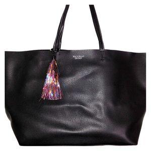 Victoria Secret Black tote matching makeup bag.